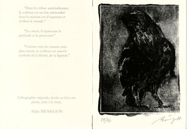 Alain MENEGON   -   corbeau 2016, symbole de  liberté    - lithographie originale -