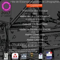 Pour l'édition 2017 de la fête de l'estampe ne sont exposées que des lithographies de France et du Brésil.