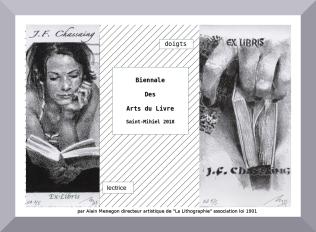 Ex-libris créés par Alain Menegon pour la Biennale des Arts du Livre